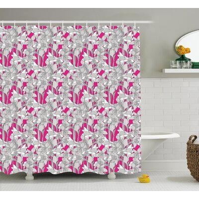 Baran Retro Flower Leaf Petals Shower Curtain Size: 69 W x 84 L