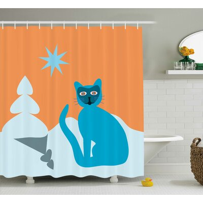 Lottie Cat with Raccoon Mask Shower Curtain Size: 69 W x 84 L