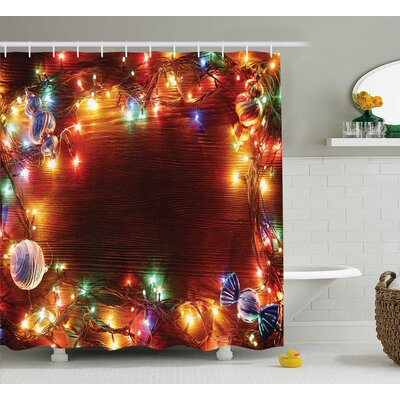 Christmas Fairy Lights Image Shower Curtain Size: 69 W x 75 L