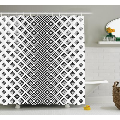 Issac Square Shape Geometric Shower Curtain Size: 69 W x 70 L