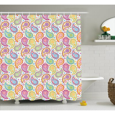 Hakeem Colored Pattern Flower Shower Curtain Size: 69 W x 84 L