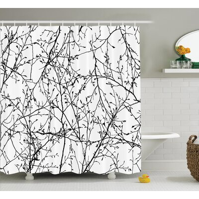 Borden Branches with Leaf Buds Shower Curtain Size: 69 W x 70 L
