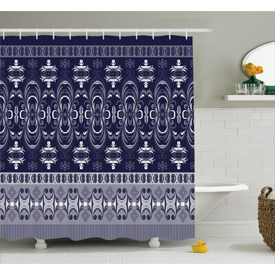 Daisi Indian Floral Horizontal Shower Curtain Size: 69 W x 84 L