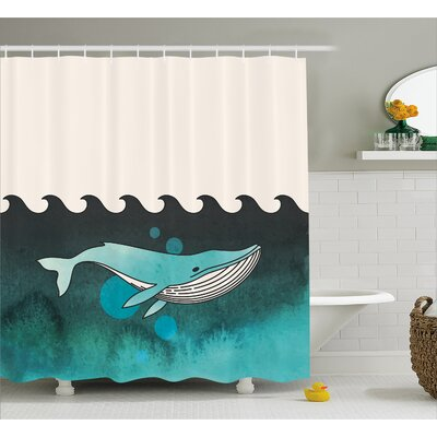Animal Whale near Palm Island Shower Curtain Size: 69 W x 75 L