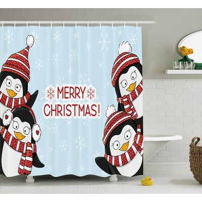 Stephanie Cute Penguins Kids Shower Curtain Size: 69 W x 75 L