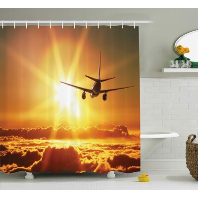 Scenery Widebody Jet Air Plane Print Shower Curtain Size: 69 W x 75 L