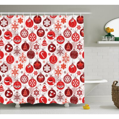 Stemple Vintage Xmas Scene Shower Curtain Size: 69 W x 70 L