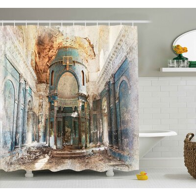 Ilana Old Ancient Vintage Print Shower Curtain Size: 69 W x 75 L