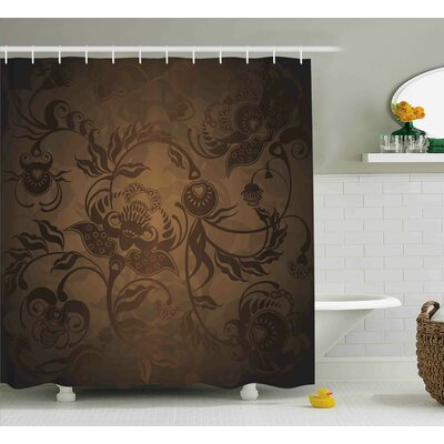 Pottsville Floral Paisley Ivy Shower Curtain Size: 69 W x 84 L
