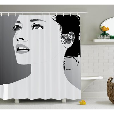 Amaris Decor Digital Art Girl Shower Curtain Size: 69