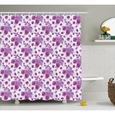 Carolus Vivid Rasberries Branch Shower Curtain Size: 69 W x 75 L