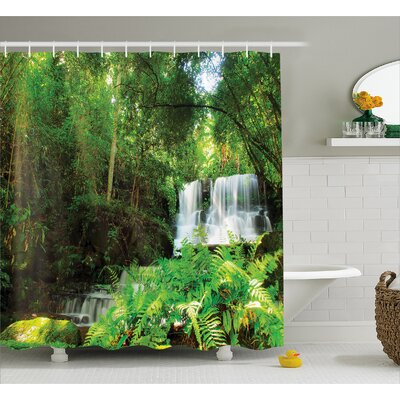 Scenery Spring Botanic Forest Shower Curtain Size: 69 W x 75 L