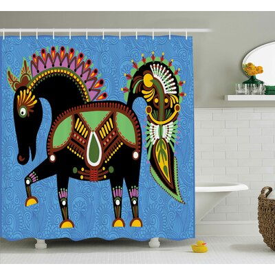 Augusta Folkloric Animal Figure Print Shower Curtain Size: 69 W x 75 L