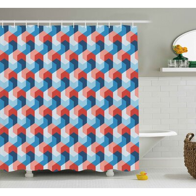 Brayan Mosaic Geometric Art Print Shower Curtain Size: 69 W x 75 L