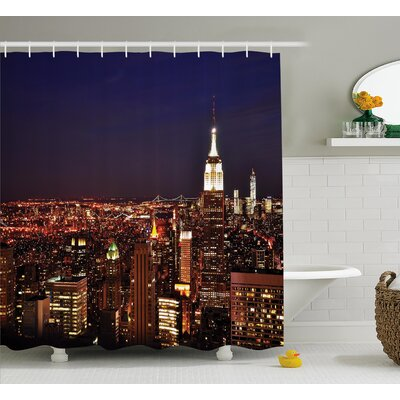 View New York Manhattan N?ght Shower Curtain Size: 69 W x 75 L