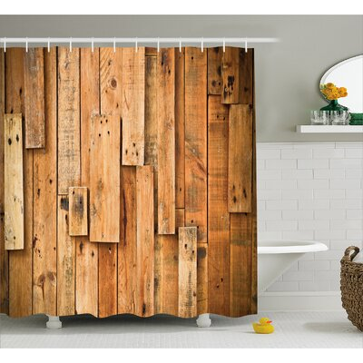 Asuka Lodge Wall Planks Print Shower Curtain Size: 69 W x 84 L