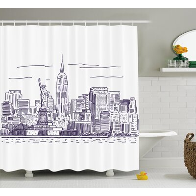 Brunella Sketchy NYC Island Shower Curtain Size: 69 W x 70 L