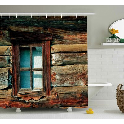 Asuka Wooden Pattern Window Shower Curtain Size: 69 W x 75 L