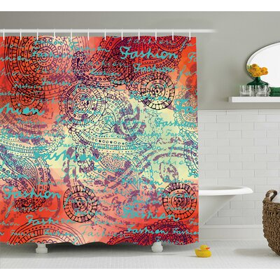 Alvarado Grunge Indian Paisley Shower Curtain Size: 69 W x 84 L