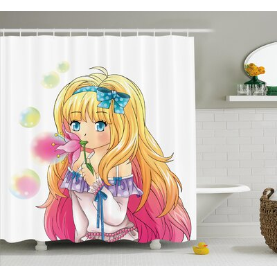 Anime Decor Manga Cartoon Art Shower Curtain Size: 69 W x 84 L