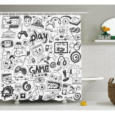 Video Games Black and White Shower Curtain Size: 69 W x 70 L