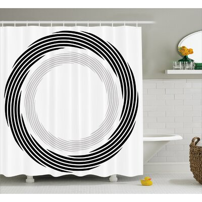 Black Abstract Art Theme White Shower Curtain Size: 69 W x 75 L