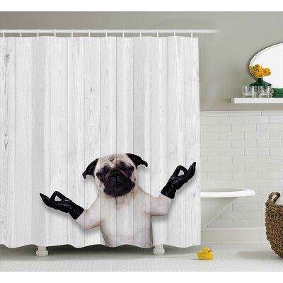 Fritz Wooden Funny Bulldog Shower Curtain Size: 69 W x 75 L