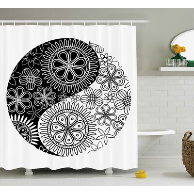 Black/White Ying Yang Decor Floral Balance Shower Curtain Size: 69 W x 75 L