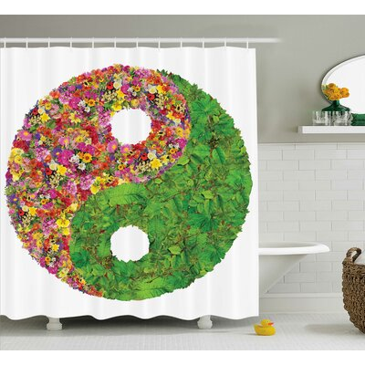 Alejandro Yang Decor Flower Leaves Shower Curtain Size: 69 W x 70 L