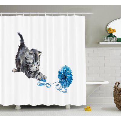 Quakertown Playful Baby Kitten Furry Print Shower Curtain Size: 69 W x 84 L