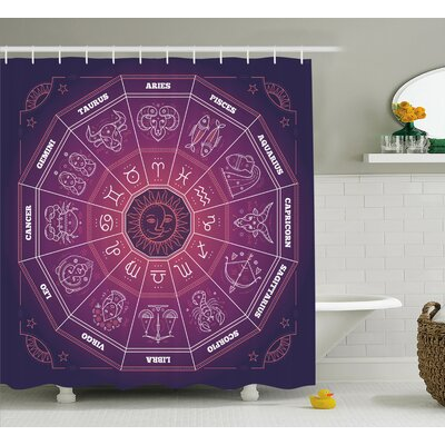 Purple Astrological Signs Shower Curtain Size: 69 W x 75 L