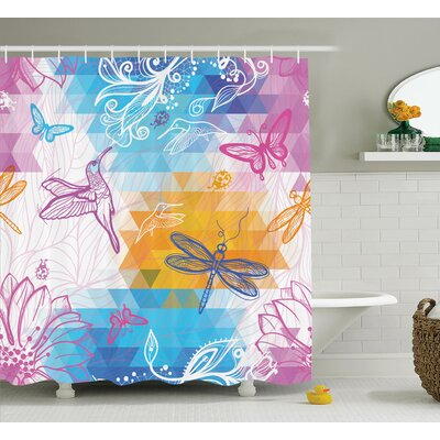 Lottie Butterflies Dragonflies Shower Curtain Size: 69 W x 75 L