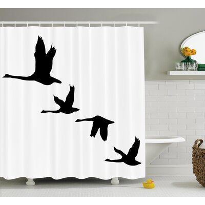 Azaiah Group of Flying Birds Shower Curtain Size: 69 W x 75 L