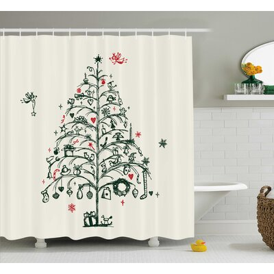 Garfield Tree and Fairies Shower Curtain Size: 69 W x 75 L