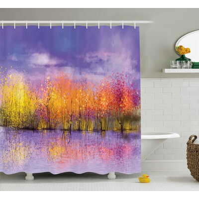 Riverside Fall Season Trees River Shower Curtain Size: 69 W x 75 L