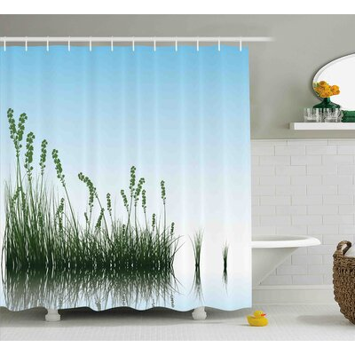 Landscape Scenery Lake Bushes Shower Curtain Size: 69 W x 75 L