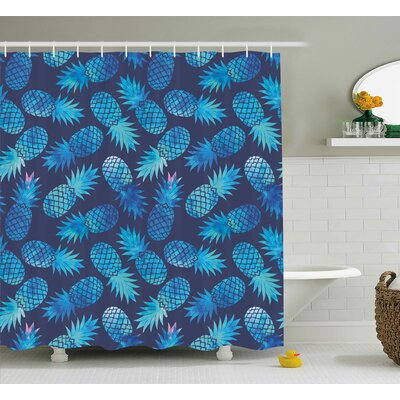 Benevides Exotic Pineapple Figures Shower Curtain Size: 69 W x 84 L