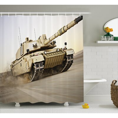 Alber Armored Tank War Battle Shower Curtain Size: 69 W x 84 L