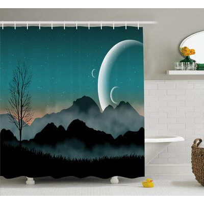 Beagle Night Sky on Mountain Shower Curtain Size: 69 W x 75 L