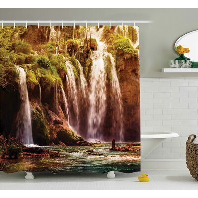 Nature Waterfall Forest Trees Shower Curtain Size: 69 W x 84 L