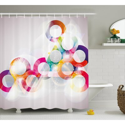 Biles Disc Shapes Cricles Shower Curtain Size: 69 W x 84 L