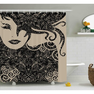 Baumer Woman with Cool Posing Shower Curtain Size: 69 W x 75 L