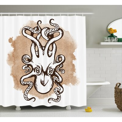 Kraken Monster Shower Curtain Size: 69 W x 75 L