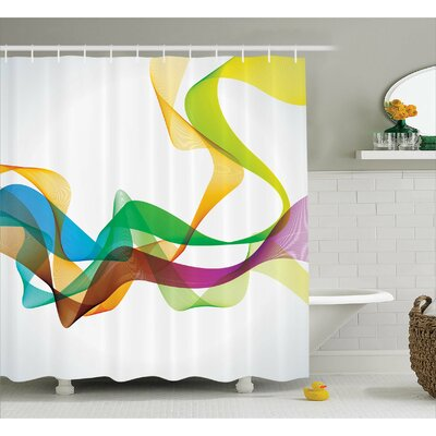 Wavy Ribbon Rainbow Print Shower Curtain Size: 69 W x 70 L