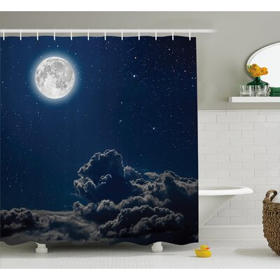 Belz Moon and Magical Stars Shower Curtain Size: 69 W x 70 L