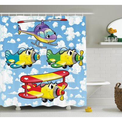 Loretta Kids Cute Airplanes Sky Shower Curtain Size: 69 W x 75 L
