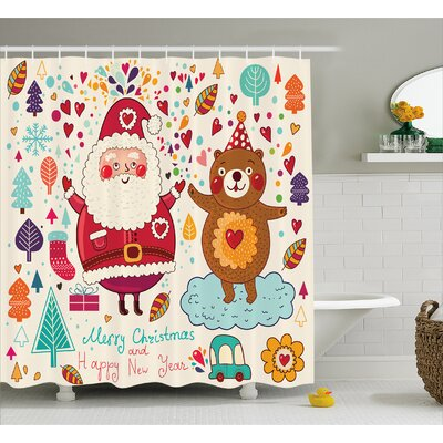 Sierra Santa and Teddy Bear Shower Curtain Size: 69 W x 70 L