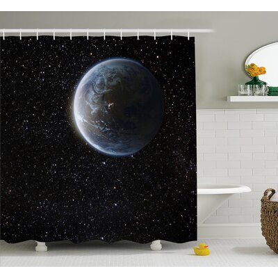Moon Planet Earth Cosmos Shower Curtain Size: 69 W x 75 L