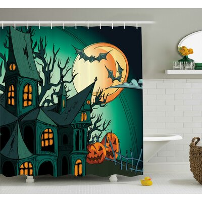 Teal Halloween Haunted Castle Shower Curtain Size: 69 W x 75 L