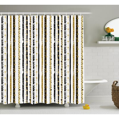 Friedman Vertical Lines Rounds Shower Curtain Size: 69 W x 70 L